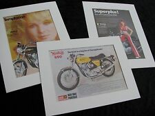 Norton 850 Motorcycles. Set of 3 Vintage Original Adverts, 1973, in Mounts.