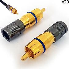 20x RCA/Phono Compresión crimp connectors-RG6 Cable Coaxial-Enchufe Macho AV Audio
