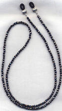 HEMATITE METALLIC CRYSTAL Eyeglass~Glasses Holder Necklace Chain *CUSTOM LENGTH*