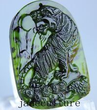 Chinese natural green black  jade jadeite pendant necklace hand  carved tiger