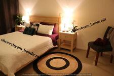 "2x2""Feet Reversible Round Jute Rugs Black Braided Rag Rug Modern Area Floor Mats"
