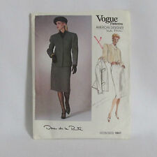 Uncut 1987 Vogue Oscar de la Renta Suit Sewing Pattern 8 #1841