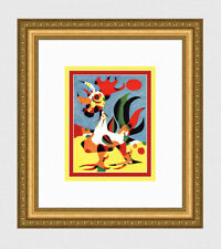 "Vivid Joan Miro 1940 Vintage Color Print ""The Rooster"" Gallery Framed Signed COA"