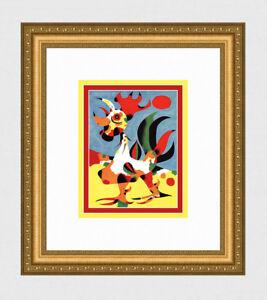 "1940 Joan Miro Vintage Color Print ""Strutting Rooster"" SIGNED Gallery Framed COA"