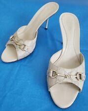 Gucci off white monogram  horsebit slides/ heels, Euro 38C,  US 7.5C