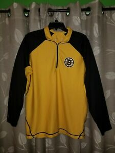 BOSTON BRUINS Yellow/Black QUATER-ZIP PULLOVER ANTIGUA NHL Men's size Med