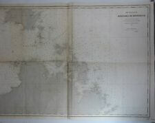 Large Antique Map - BOUCHES DE BONIFACIO - Depot de la Marine - Litho - 1883