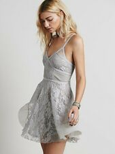 NWOT Free People Pieced Lace Fit and Flare Boho Slip Dress Gray Lavender S Rare