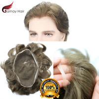 Full French Lace Mens Toupee Breathable Wigs Hairpiece Indian Remy Human Hair