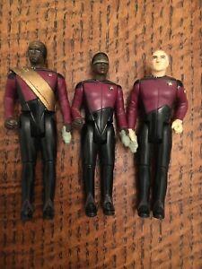3 Playmates Star Trek The Next Generation Figures Picard Geordie Laforge Klingon