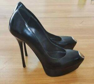 GIANMARCO LORENZI Size39 US8,5 platform stiletto black patent leather pumps