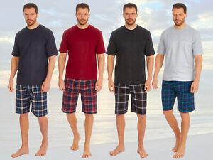 Mens Plain T Shirt & Checked Shorts Lounge PJ Set Pyjamas Loungewear Gift Idea