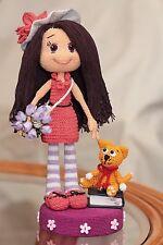 Handmade Lana Pink Dress Girl Doll Red ginger cat Soft thread free shipping