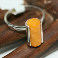 Wow Factor 925 Silver Natural Balkan Butterscotch Yellow Amber Dainty Ring Sz 6