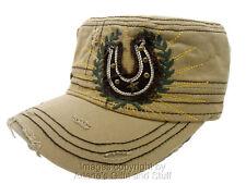KB Ethos Lucky Horse Shoe Distress Cadet Cap Beige Hat