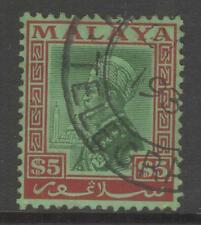 MALAYA SELANGOR SG85 1936 $5 GREEN & RED/EMERALD FINE USED
