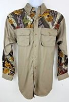 Master Sportsman Prestige Green Woodland Outdoors Fishing Hunting Shirt Size L