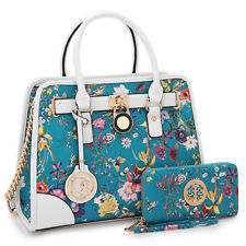 New 2pcs Women Handbag Faux Leather Work Satchel Tote Bag Padlock Day Work Purse