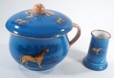 Antique James Edwards & Son Dale Hall Chamber Pot Set Shaving Cup Hunting Dog
