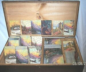 EARLY 1920's TRAVING SALESMAN SAMPLE PUZZLES IN THE CASE , OVER 300+ puzzles