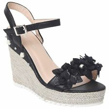 LADIES WOMENS WEDGE SANDALS HIGH HEEL PLATFORMS ESPADRILLES STRAPPY PARTY SHOES