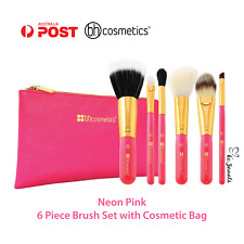 [AUTHENTIC] BH Cosmetics - Neon Pink - 6 Piece Brush Set with Cosmetic Bag