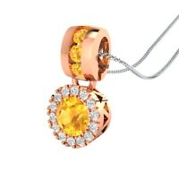 "14k Rose Gold GP 0.65 Ct Round Citrine and Sapphire Halo Pendant 18"" Necklace"