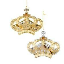 Set of 2 Gold Crown Ornaments w