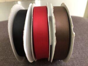 Stampin' Up Ribbon Lot of 3 Satin Black Real Red Chocolate Ribbon Crafting Cards