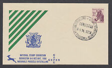 South Africa Sc 203, 2p purple Zebra on 1958 National Stamp Exhibition cover