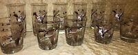 11 VINTAGE HAZEL ATLAS PHEASANT GAME BIRD BARWARE TUMBLERS GLASSES