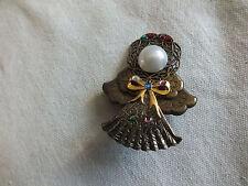 "Stunning Brooch Pin Figural Brass Tone Crafted Angel Rhinestones Cab 2 1/4"" WOW"