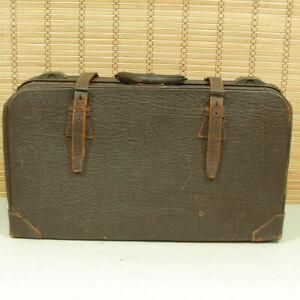 Vintage Brown Leather Suitcase Unusual Hardware Store Display Fixture or Prop