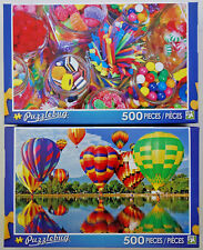 jigsaw puzzle lot of 2 Puzzlebug 500 pc Hot Air Balloons & Candy Store Jars