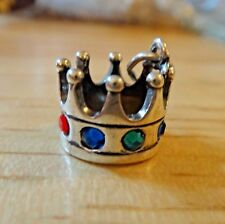 Sterling Silver 3D 11mm Multicolored CZ's Crown Princess Charm
