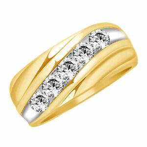 1.00 ct Round Simulated Diamond Mens Wedding Band 14k Gold Over Sterling Silver