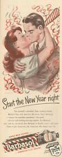 1940s vintage BARBASOL New Years Eve Party KISS Shaving Cream Girl ROMANCE Ad