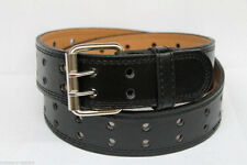 New Unisex Men's Womens Solid 2-Double Row Holes Plain Leather Belt w/ Ag Buckle