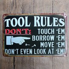 Metal Tin Sign tool rules  Decor Bar Pub Home Vintage Retro Poster Cafe ART
