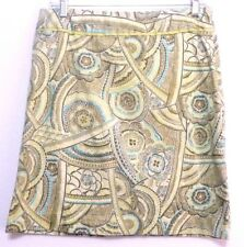 Geoffrey Beene Ladies Chartreuse Printed Cotton Flare Skirt - Size 6