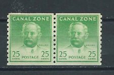 CANAL ZONE , US , 1946/49 , COIL , PAIR 25c STAMPS  , PERF , MNH