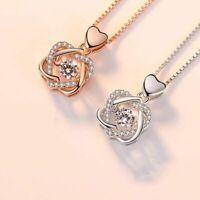 Echt 925 Silber Halskette Anhänger runde Zirkon Rose & Silber Damen Schmuck Neu.