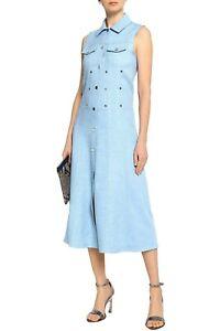 MAJE Eyelet Embellished Blue Chambray Midi Shirt Dress Size 1 New With Tags £225