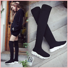 Women Sock Boots 2019 New Stretch Fabric Shoes Slip On Over the Knee