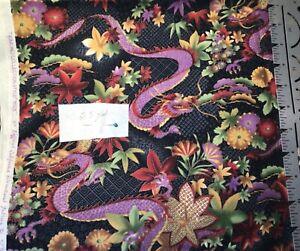 Hoffman The Kimono Collection Purple Dragon Cotton Fabric 2.5 Yards