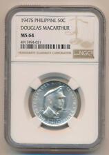 1947 S Philippine 50 Centavos Silver, NGC MS64