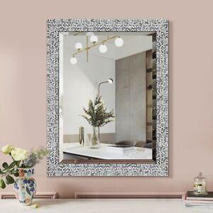 "Bathroom Vanity Mirror Large Silver Wall Hall Living Bed Room Mosaic Pattern 32"""