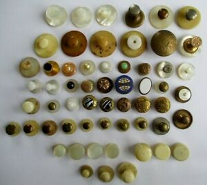 ANTIQUE VINTAGE GENTS COLLAR STUDS incl. 15ct GOLD MOTHER of PEARL GLASS BONE