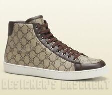 GUCCI Mens 10.5G brown Supreme HYSTERIA Logo BROOKLYN High Top Sneakers NIB Auth