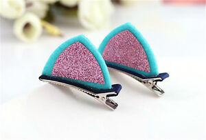 2pcs Girls Cute Hair Clips Glitter Felt Fabric Hairpin Cat Ears Bunny Barrettes